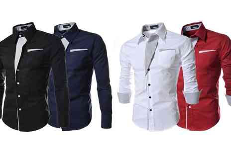 Groupon Goods Global GmbH - One or Two Mens Contrast Trim Fashion Shirt - Save 73%