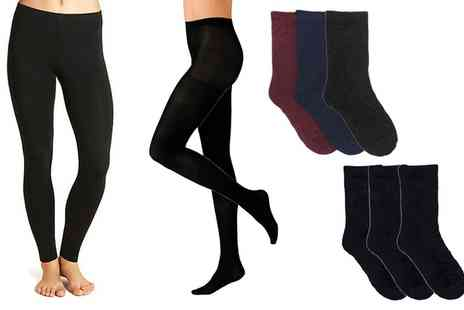 Groupon Goods Global GmbH - Womens Heat Guard Black Thermal Tights with Optional Socks Six Pack - Save 0%