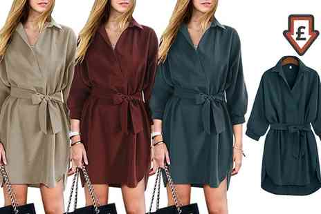 Groupon Goods Global GmbH - Belted Shirt Style Dress - Save 0%