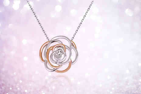 Evoked Design - Two tone silver and rose gold coloured crystal rose necklace - Save 88%
