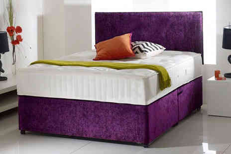 Relaxd - Crushed velvet divan bed with a mattress and drawer options - Save 60%