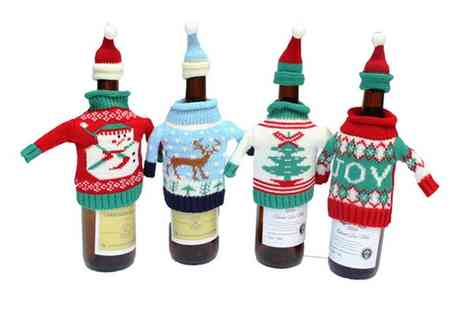 Groupon Goods Global GmbH - Up to Eight Christmas Wine or Spirit Bottle Covers - Save 85%