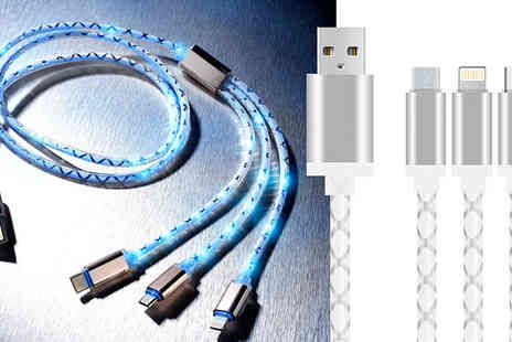 AMS Global - 3 in 1 Flashing Led Charging Cable - Save 23%