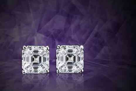 Evoked Design - Pair of cubic zirconia sterling silver stud earrings - Save 87%