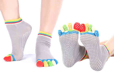 Ckent - Pack of four anti slip yoga socks - Save 75%