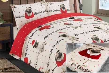 Groupon Goods Global GmbH - Dreamscene Festive Pug Duvet Cover Set - Save 72%