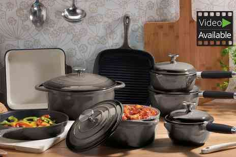 Groupon Goods Global GmbH - Cooks Professional Three, Five or Eight Piece Deluxe Cast Iron Pan Set With Free Delivery - Save 60%