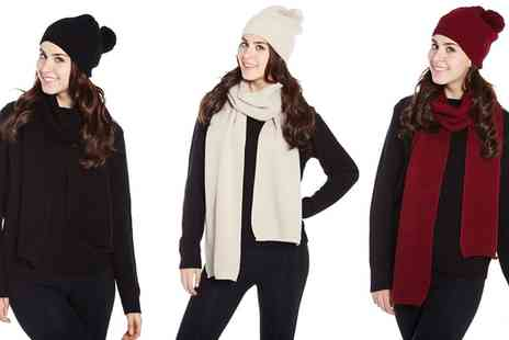 Groupon Goods Global GmbH - Cable Knit Hat and Scarf Set - Save 80%