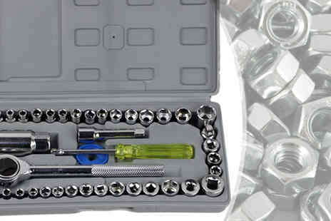 Eskkay - 40PC Socket Set With Case 1/4 inch to 3/8 inch - Save 83%