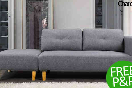 Dream Warehouse - Cavendish Light Grey Sofa & Stool - Save 38%