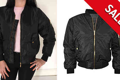Factors - Black Bomber Jacket Available in 4 Sizes - Save 63%