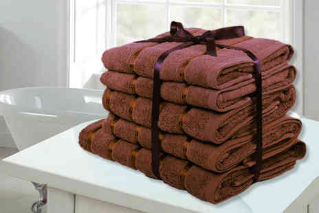 Groundlevel - Set of Egyptian cotton towels choose from five colours - Save 88%