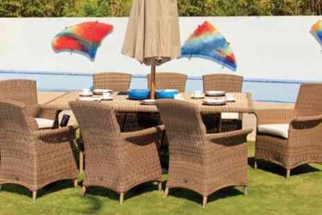 Groupon Goods Global GmbH - Fully Assembled Panama Rattan Effect Dining Set with Six or Eight Armchairs With Free Delivery - Save 0%