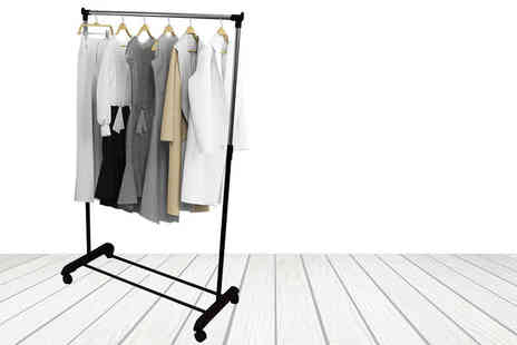 Who Needs Shops - Stainless steel mobile clothing hang rail that holds up to 50kg - Save 73%