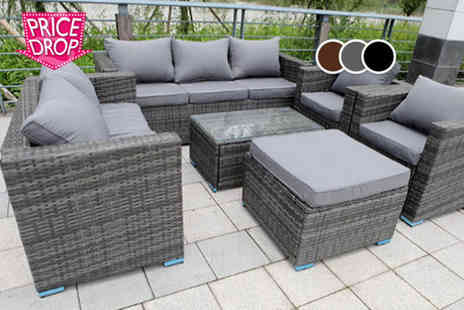 Dreams Living - Eight seater rattan garden set choose from three colours - Save 52%