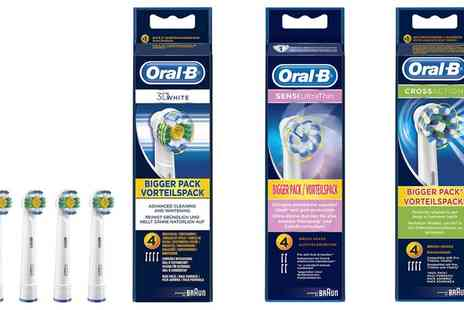 Groupon Goods Global GmbH - Four or Eight Braun Oral B 3D White, Sensi Ultrathin or Coss Action Replacement Toothbrush Heads - Save 48%