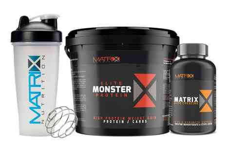 Groupon Goods Global GmbH - Matrix Monster Elite Protein with Shaker Plus Creatine Tablets - Save 70%
