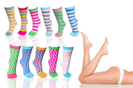 Ckent - Two pairs of colourful & comfy toasty toe socks in spotted or striped - Save 60%