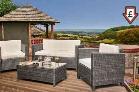 Groupon Goods Global GmbH - Tuscany Rattan Four Seater Set With Free Delivery - Save 69%