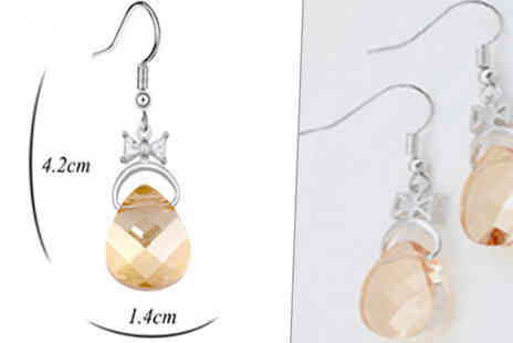 Jewleo - Teardrop Simulated Crystal Earrings Choose 3 Colours - Save 78%
