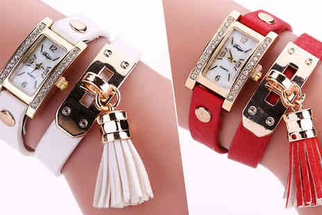 Jewleo - Faux Leather Chimes Bracelet Watches Available in 5 Colours - Save 80%