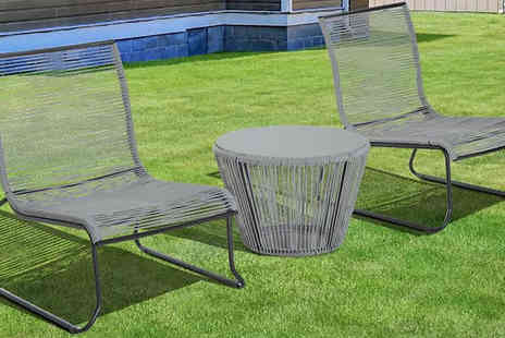 Mhstar - 3 Piece Rattan Garden Table and Chairs Set - Save 0%