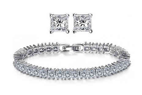 Fakurma UK - 18K White Gold Plated Tennis Bracelet & Earrings With Swarovski Elements - Save 84%