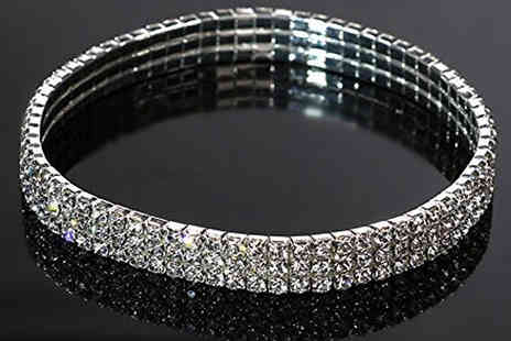 Jewleo - 2 x Simulated Crystal Anklets in 2 Colours - Save 88%