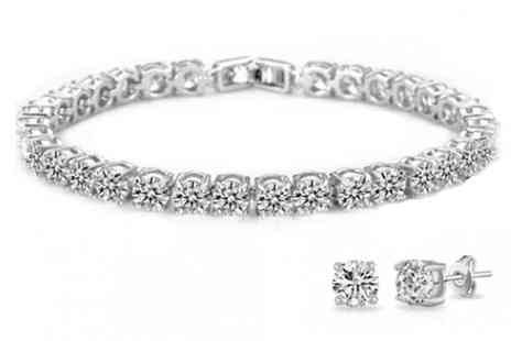 Fakurma - Swarovski Elements 18K White Gold Plated Tennis Set - Save 84%