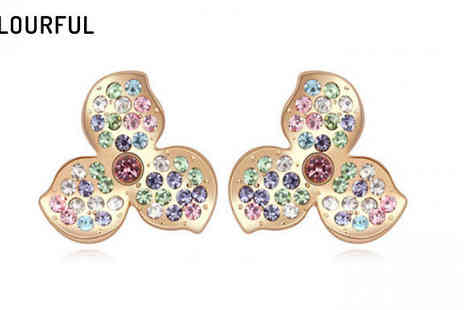 Jewleo - 18K Gold Plated Clover Earrings in 4 Designs - Save 84%