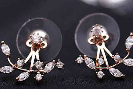 Marcus Emporium - Double Crystal Leaf Earrings in 2 Colours plus Free Delivery - Save 75%