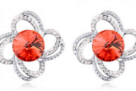 Jewleo - Simulated Crystal Flower Stud Earrings in 5 Colours - Save 86%
