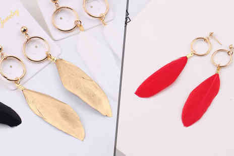 Jewleo - Set of 4 Feather Drop Earrings - Save 91%