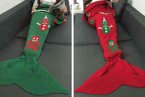 Metallic Turtle - Christmas Mermaid Tail Blanket in 2 Colours - Save 88%