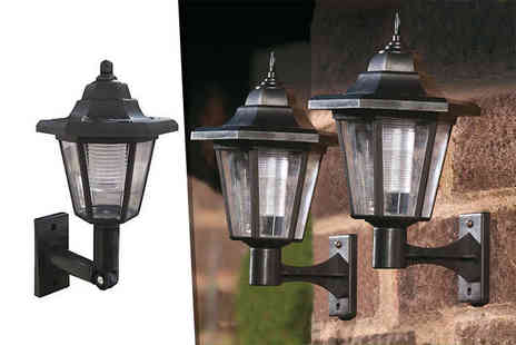 SHS Trading - Two black outdoor solar powered LED wall lanterns - Save 69%