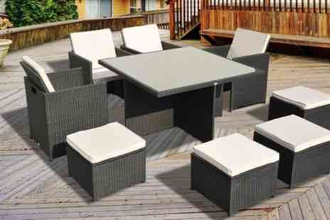 Groupon Goods Global GmbH - Nine Pc Cubed Rattan Dining Collection with Optional Cover With Free Delivery - Save 0%