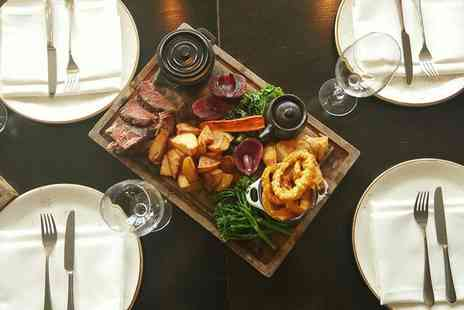 Hilton Canary Wharf - Roasting board dinner and bottle of wine to share for two - Save 52%