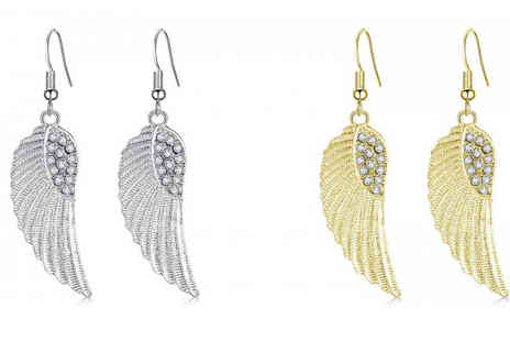Your Ideal Gift - Angel Wing Swarovski Elements Earrings in 2 Colours - Save 90%