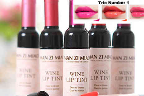 Get Gorgeous - Trio of Novelty Wine Shaped Lip Tints in 2 Collections - Save 70%