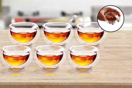 Snap One Up - Six double walled glass teacups - Save 77%