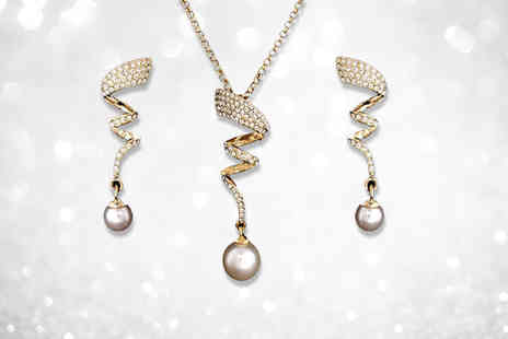 Your Ideal Gift - Crystal spiral and imitation pearl drop duo set - Save 85%