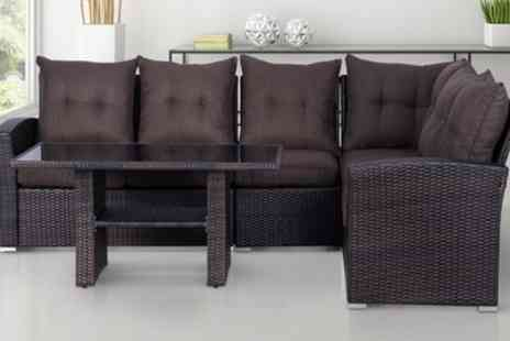 Groupon Goods Global GmbH - Outsunny Rattan Effect Five Seater Sectional Sofa Set with Optional Decking Solar Lamp With Free Delivery - Save 11%