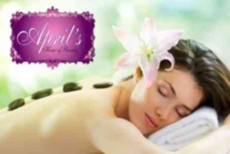 Aprils House of Beauty - Hot or Cold Stone Massage Plus Manicure With Paraffin Wax Treatment For Two - Save 65%