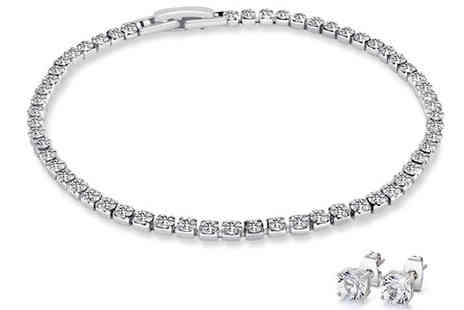 Wiseloads - Simulated Crystal Tennis Bracelet & Earring Set - Save 85%