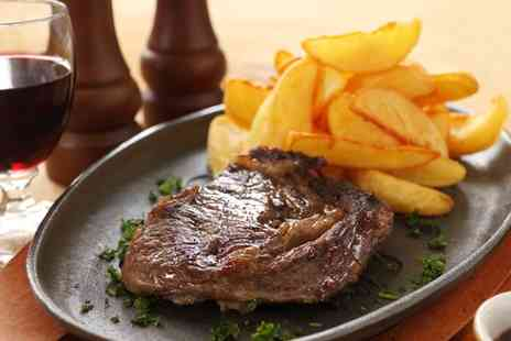 TriBeCa Woodlands - 8oz Rib Eye Steak with Bottle of Wine for Two - Save 45%