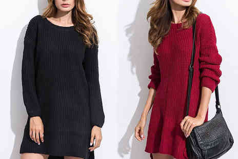Verso Fashion - Long sleeve jumper dress select from two colours - Save 56%