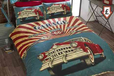 Groupon Goods Global GmbH - Retro Style Garage Reversible Duvet Set in Choice of Size - Save 74%