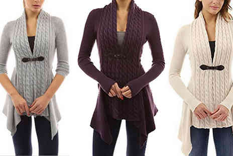 Graboom - Asymmetric Cable Knit Cardigan in 5 Colours - Save 83%