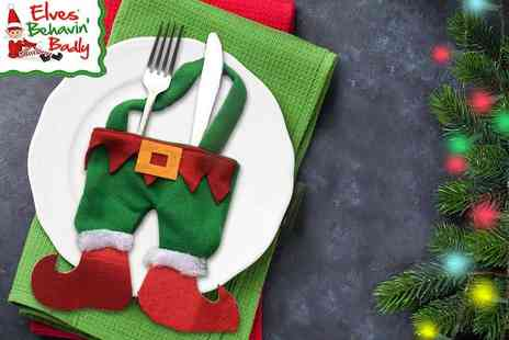 Groundlevel - Set of four luxury Christmas elf cutlery holders - Save 75%