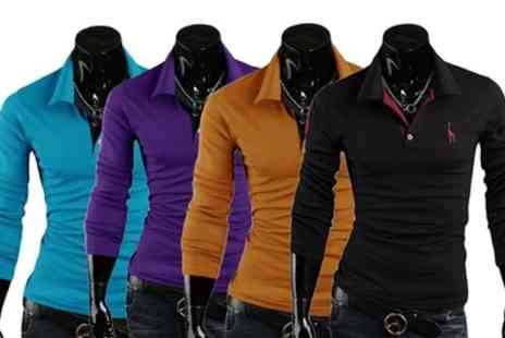 Groupon Goods Global GmbH - Two Pack of Mens Long Sleeved Polo Shirts - Save 75%